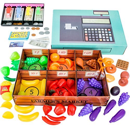 Farmers Market Color Sorting toys for toddlers with Play Food (132 pcs) by Jogo Jogo - Pretend Play store with toy cash register for kids with play money for kids, (Make Fake Food)