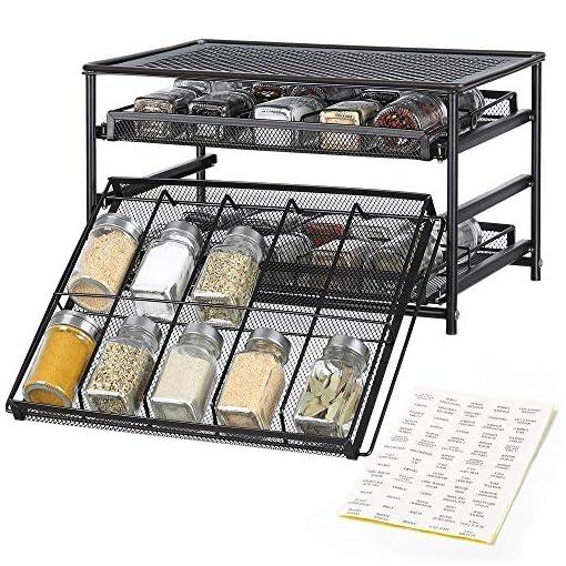 Kitchen NEX Spice Rack Organizer and 24 Glass Spice Jars/Bottles, 3 Tier 30-Bottle Metal Spice Drawer Storage Brown, 4 OZ Empty… spice racks