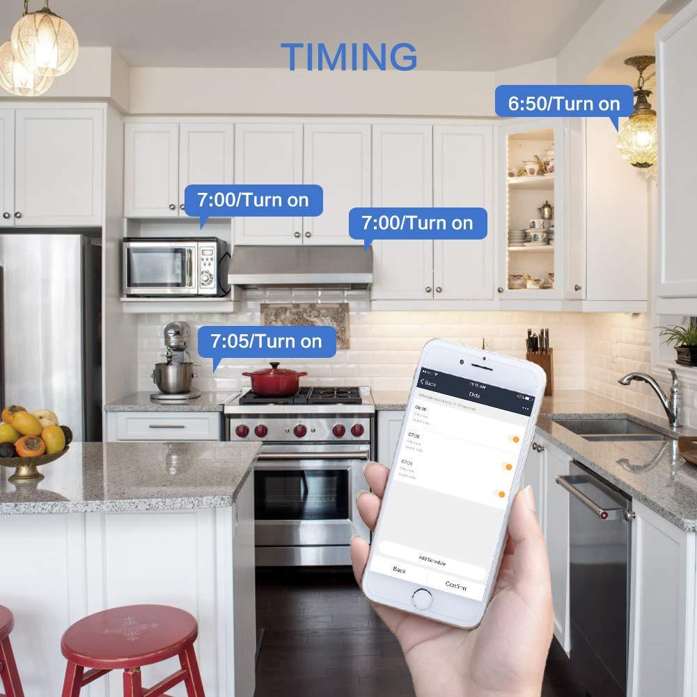 Lot de 2 Prise Connect/ée Prise Intelligente WiFi Compatible avec Android iOS  Alexa Google assistant,Home IFTTT Contr/ôle de T/él/écommande voix et Application Fonction de Programmateur