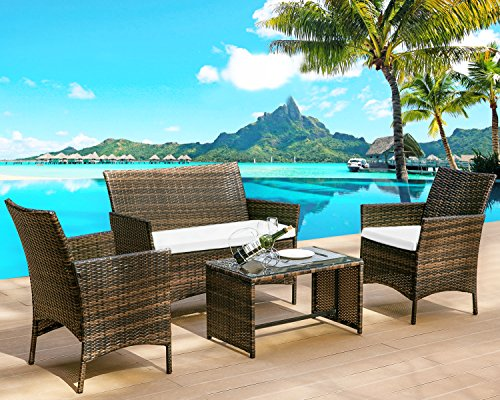Leisure Zone 4 PC Rattan Patio Furniture Set Wicker Conversation Set Garden Lawn Outdoor Sofa Set with Cushioned Seat and Tempered Glass Table Top (Cushion Beige) - Furniture Cushions