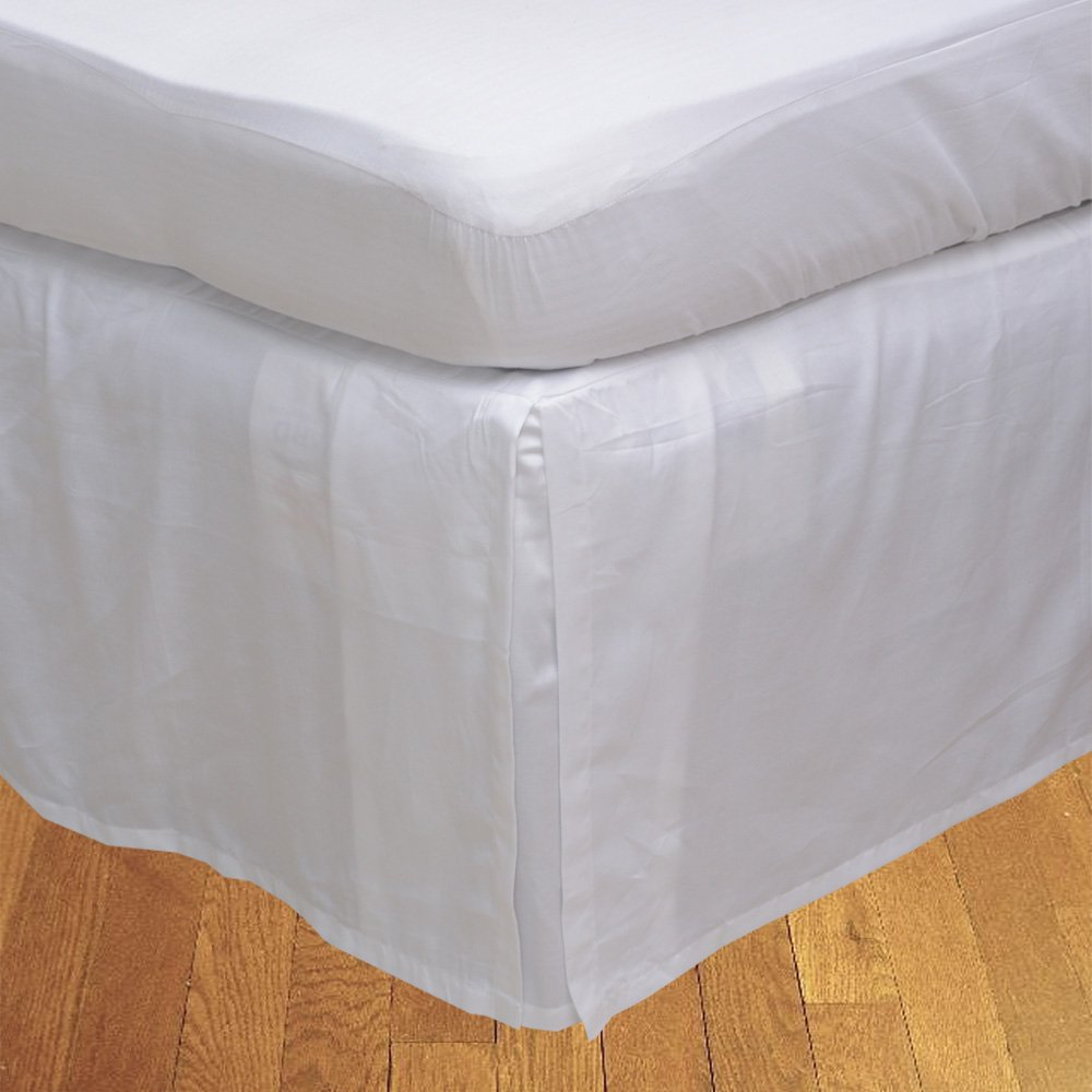Relaxare King XL 300TC 100% Egyptian Cotton White Solid 1PCs Box Pleated Bedskirt Solid (Drop Length: 12 inches) - Ultra Soft Breathable Premium Fabric