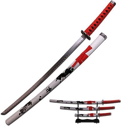 Master Cutlery Samurai Katana Sword with Wrap Handles Scabbard (Set of 3), Red/Black