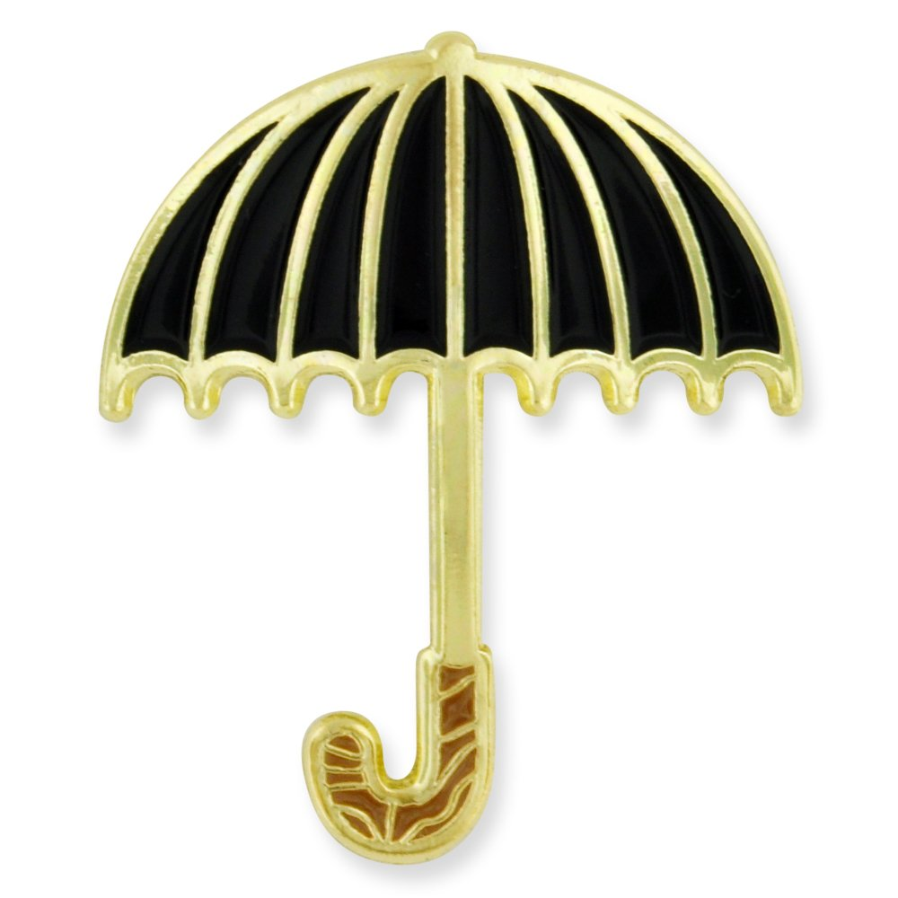 PinMart Black Traditional Umbrella Spring Enamel Brooch Lapel Pin