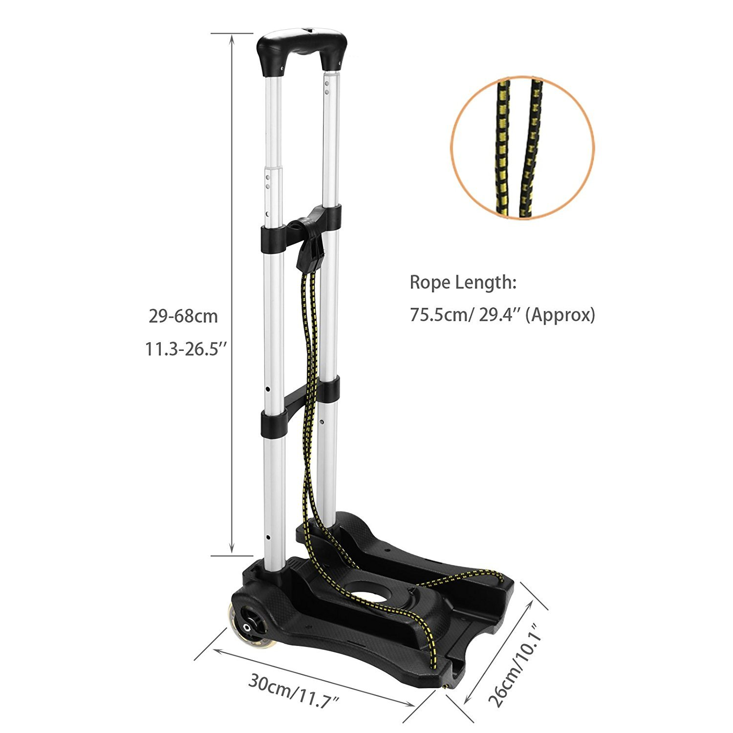 Anfan Folding Luggage Cart Portable Personal Moving Hand Truck 2 Wheels Foldable Platform Truck Shopping Cart - Support 80lbs Capacity by Anfan (Image #5)