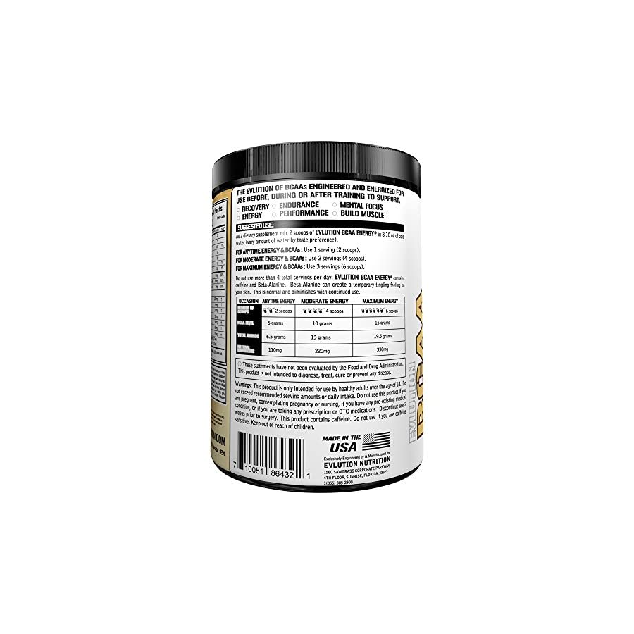 Evlution Nutrition BCAA Energy Energizing Amino Acid for Muscle Building, Recovery, and Endurance (70 Serving, Fruit Punch)