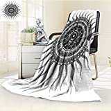 AmaPark Digital Printing Blanket Classic India Style Sun and Beams like Oriental ative Print Black and White Summer Quilt Comforter