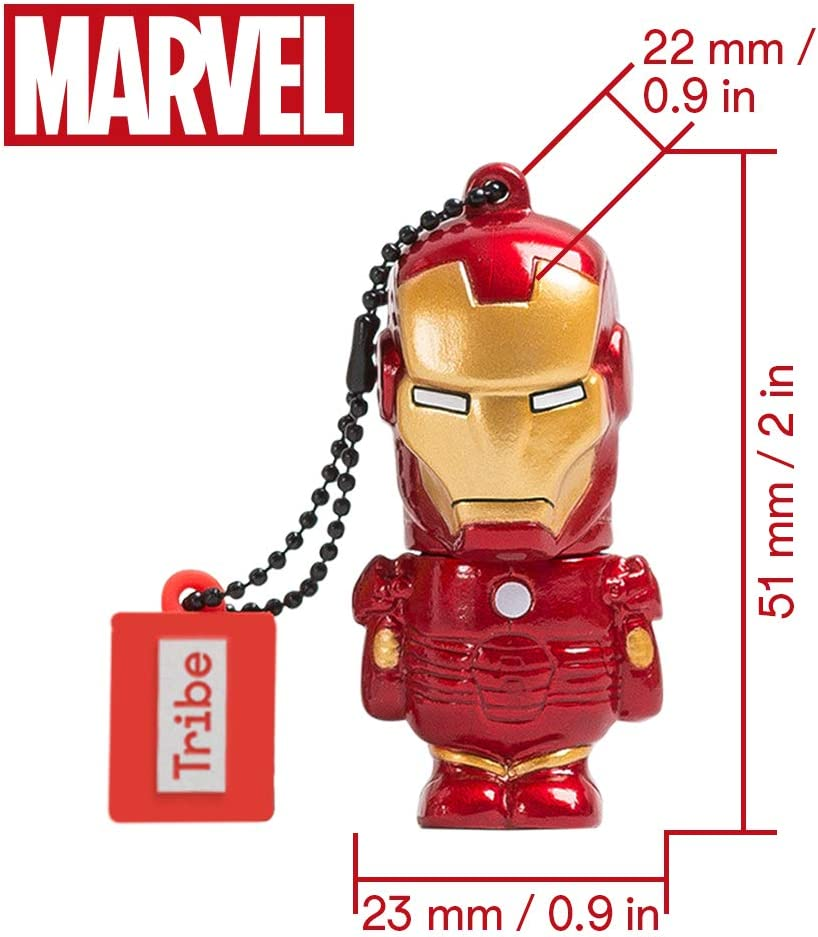 Llave USB 32 GB Iron Man - Memoria Flash Drive 2.0 Original Marvel Avengers, Tribe FD016704: Amazon.es: Informática