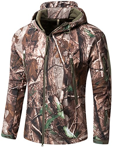 Pro Bass Camo Shops (Camo Coll Men's Outdoor Soft Shell Hooded Tactical Jacket (XL, Tree))