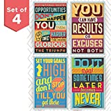 Motivational and Inspirational Posters with Quotes for School or College Decor. Art Prints with Positive Vibes. Set Includes Four 11x17 inch Posters. Great as Graduation Gifts or Classroom Posters