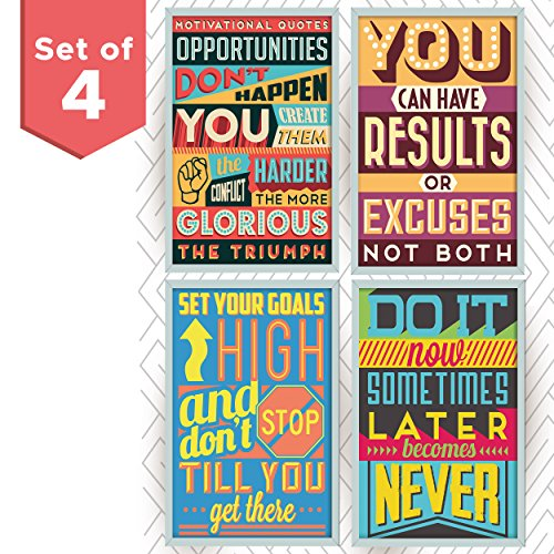 Motivational and Inspirational Posters with Quotes for School or College Decor. Art Prints with Positive Vibes. Set Includes Four 11x17 inch Posters. Great as Graduation Gifts or Classroom Posters by Throwback Traits