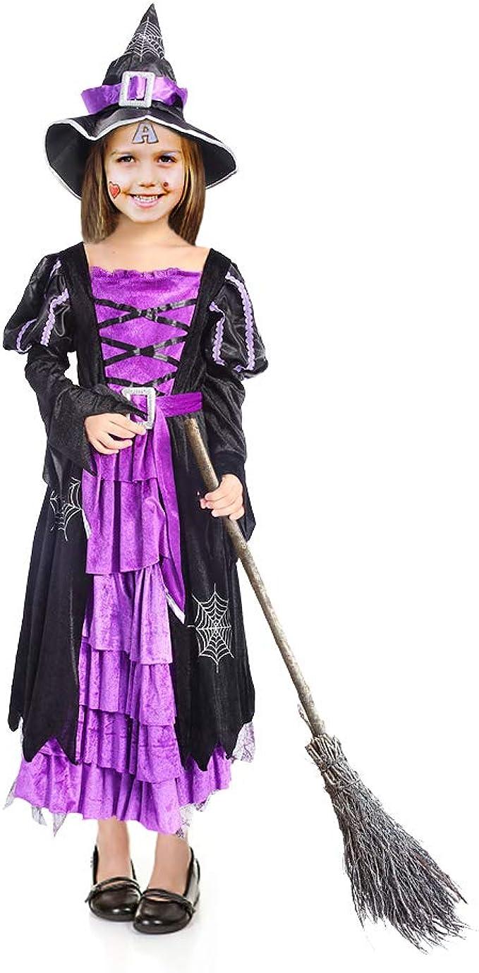 ThinkMax Disfraz de Bruja para niña, Disfraz de Fiesta de Disfraces ...