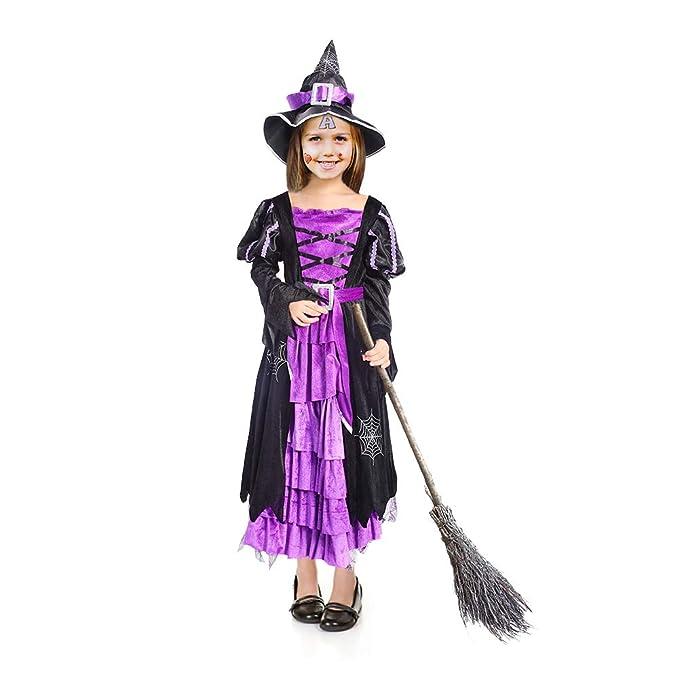 ThinkMax Disfraz de Bruja para niña, Disfraz de Fiesta de Disfraces de Halloween con Sombrero de Bruja