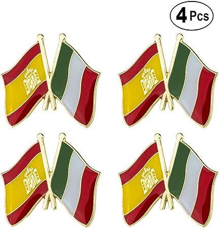 ShAwng Broche de Bandera España Italia Amistad Arco Pin de Solapa Insignia de Bandera Broche Alfileres Insignias 4PC, XY0234-1-4: Amazon.es: Hogar