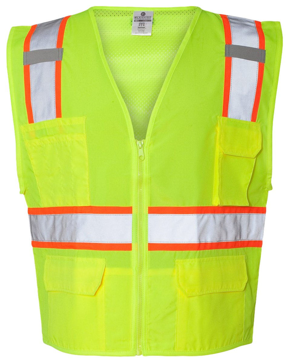 ML Kishigo Solid Front Vest with Mesh Back, Lime, XX-Large by ML Kishigo