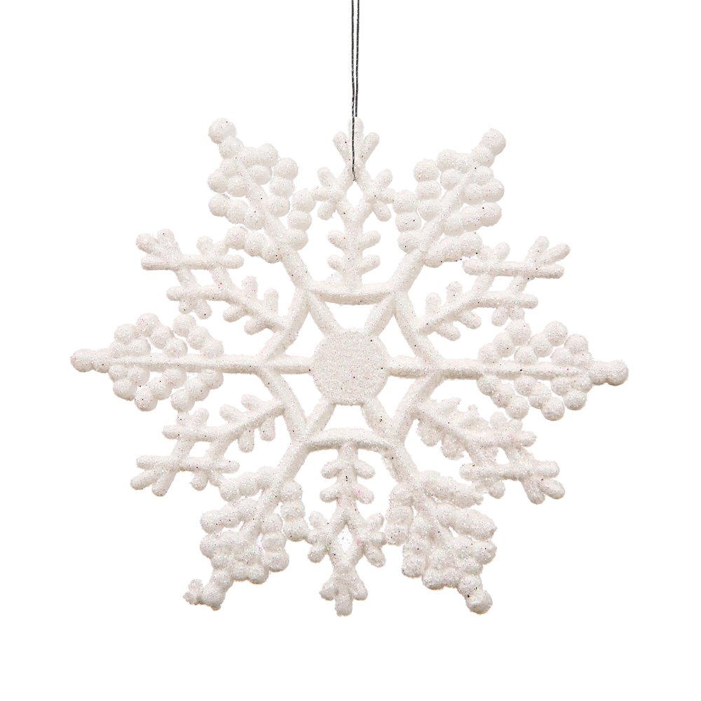 White 8-inch Snowflake Christmas Ornaments Set of 12