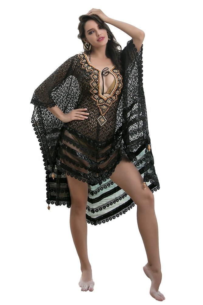 Kolkozy Fashion Women's Sexy Embroidery Beaded Cover Ups Black by Kolkozy Fashion