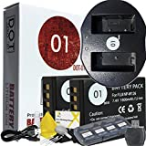 DOT-01 2x Brand Fujifilm X-H1 Batteries and Charger for Fujifilm X-H1 Mirrorless and Fujifilm X-H1 Battery and Charger Bundle for Fujifilm NPW126 NP-W126