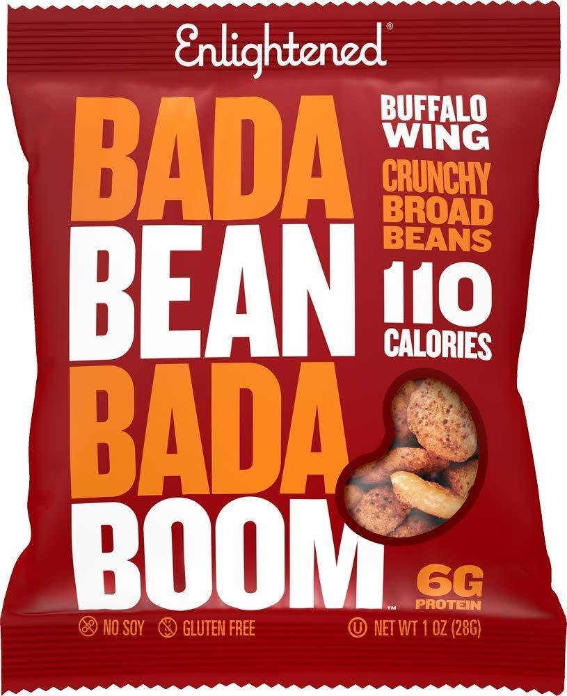 Bada Bean Bada Boom - Plant-Based Protein, Gluten Free, Vegan, Crunchy Roasted Broad (Fava) Bean Snacks, 100 Calories per Serving, Buffalo Wing, 1 oz, 24 Pack