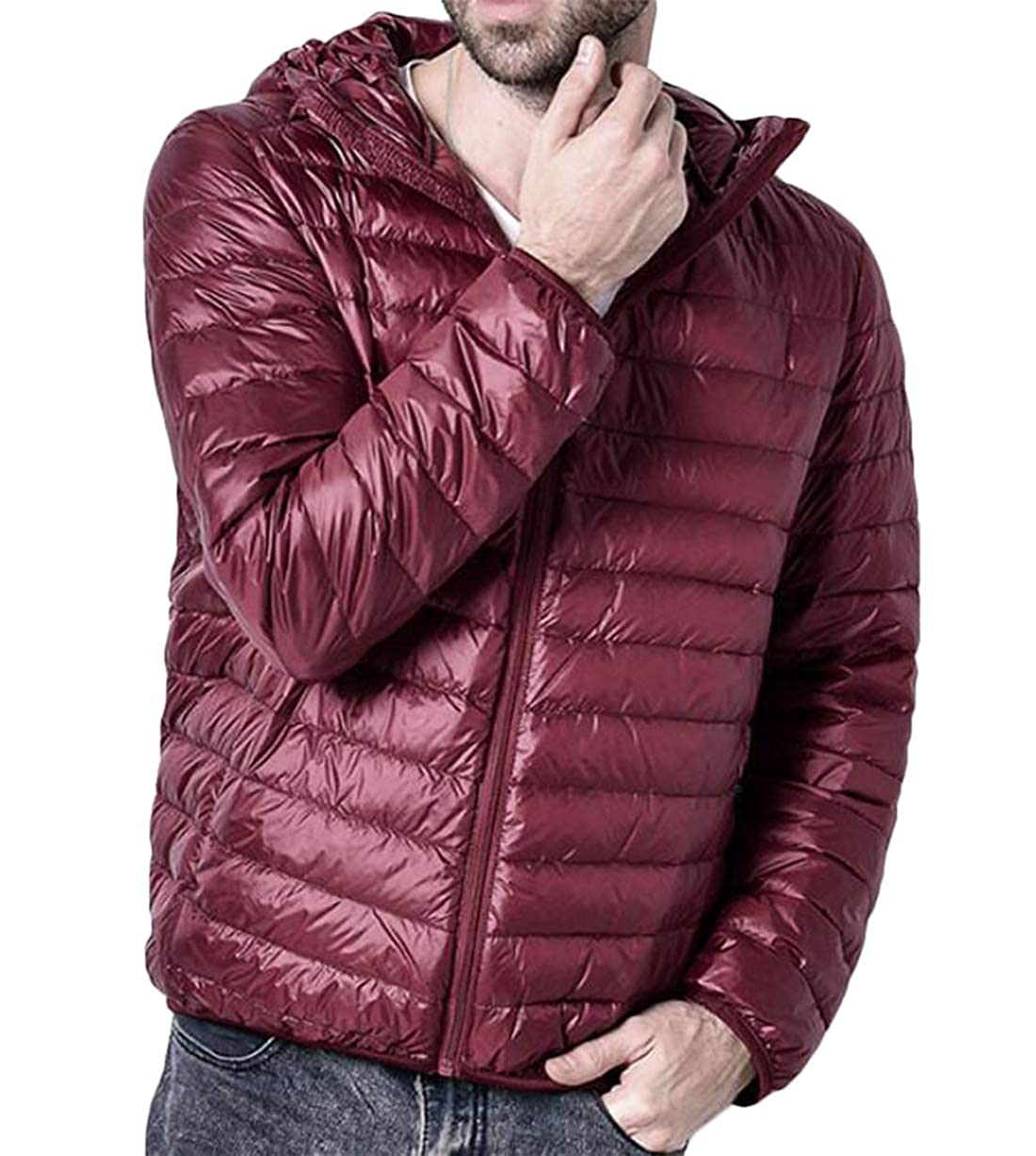 Hilization Men Casual Lightweight Packable Quilted Warm Hooded Down Coat Puffer Jacket Wine Red M
