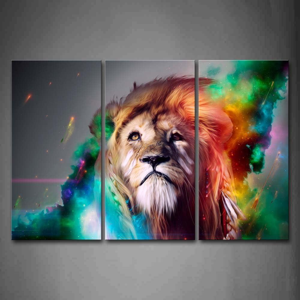 Vistoso León ArtísticoPintura de la pintura de la pared La impresión de la imagen en la lona Animal Fotos de la Obra para la Decoración Moderna del Ministerio del Interior