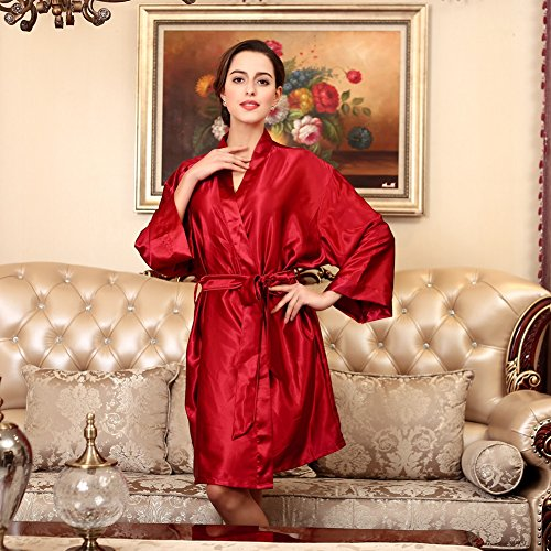 SUNBABY Women Silk Satin Nightgown Short Kimono Robe Sexy Sleepwear Fashion Dressing Gown Big Size (Red) by SUNBABY (Image #2)