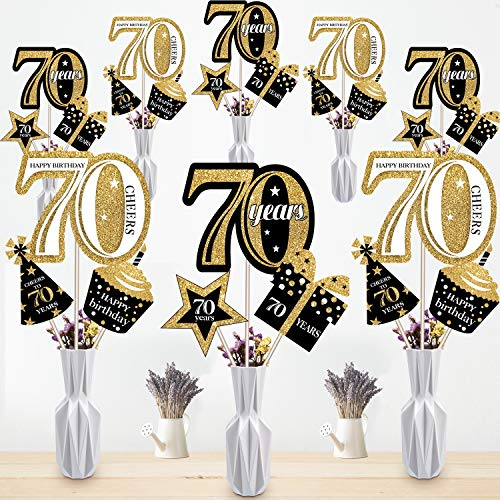 Blulu 70th Birthday Party Decoration Set Golden Birthday Party Centerpiece Sticks Glitter Table Toppers Party Supplies, 24 Pack (70th Birthday)