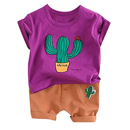 82f1695d71c6a Staron 2019 Summer Baby Girls Boys Bodysuit Clothes Ser for Toddler Baby Kids  Boys Cartoon Cactus Tops T-Shirt Short Pants Casual Outfits Set: Amazon.in:  ...