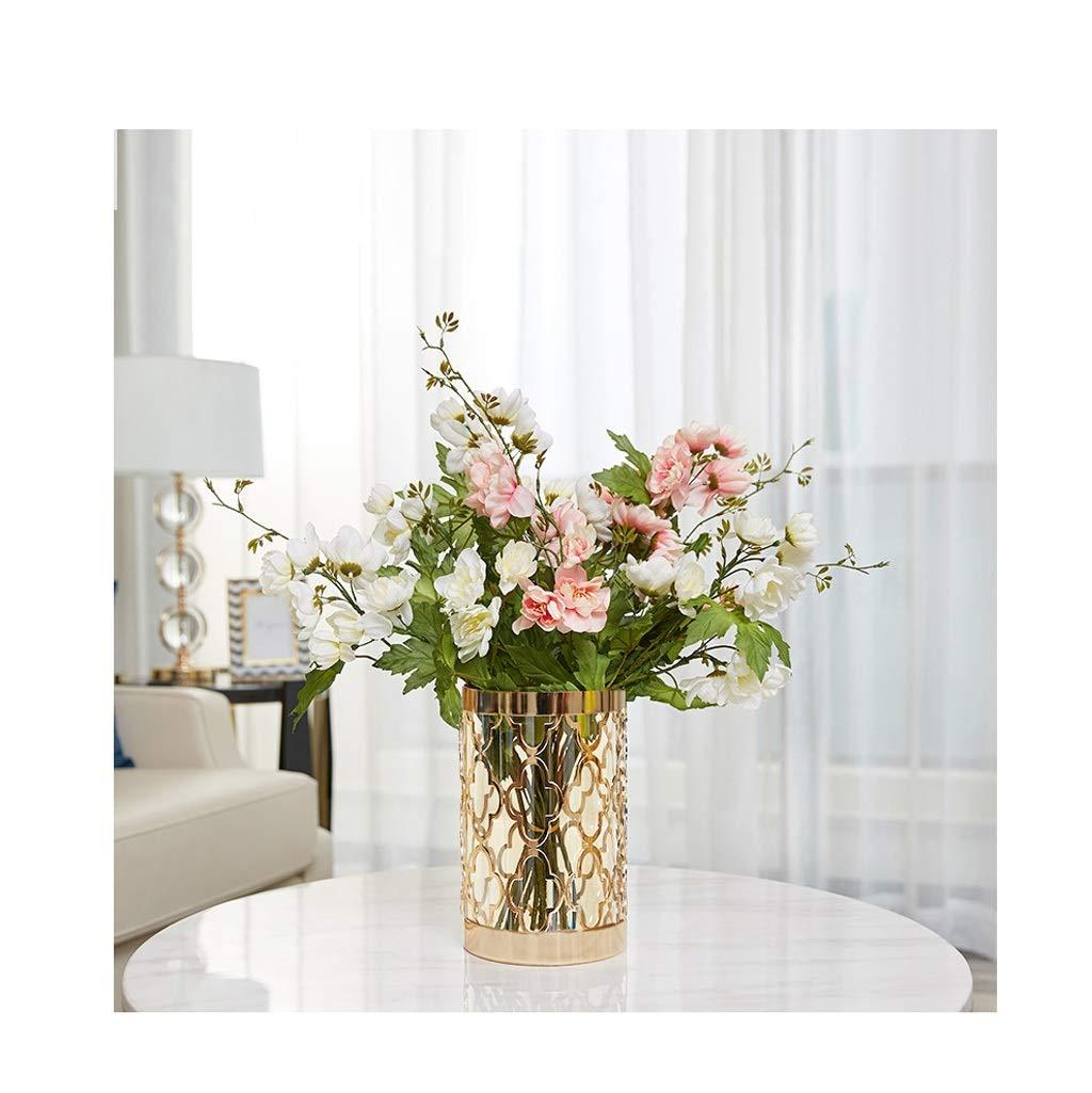 ガラス花瓶 植木鉢植木鉢花瓶金属人工ブーケライト高級装飾花セット B07SZ4FXZ2