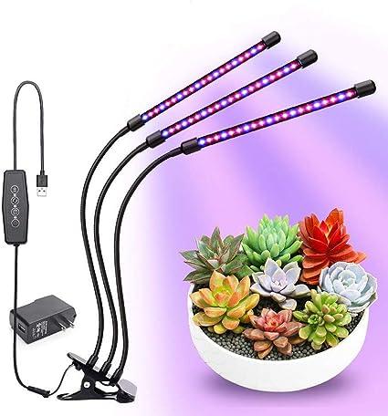 3 Kopf Pflanzenlampe LED 30W mit Zeitschaltuhr Pflanzenleuchte Pflanze Licht DHL