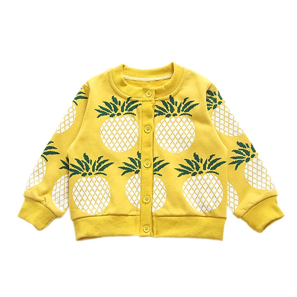 Shiningup Little Girl Cardigan Baby Pineapple Knitted Coat Fashion Outwear