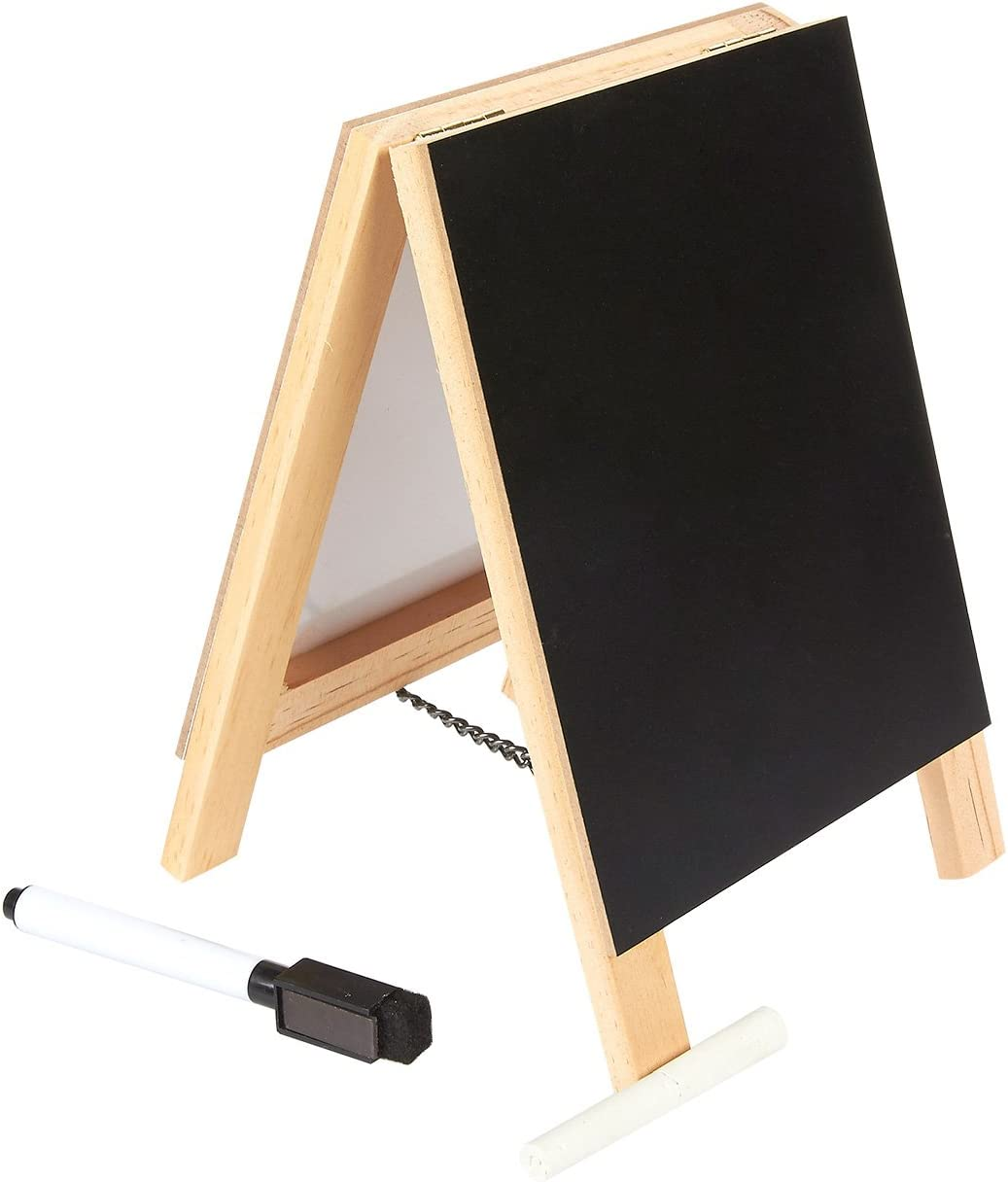 Juvale Double Sided Chalkboard Stand and Dry Erase Sign - Dual Wooden Tabletop Easel and White Board Stand for Kitchen Counter, Home Office, Cafe, 5.5 x 7.87 x 1 Inches