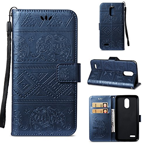DAMONDY LG Stylo 4 Case, LG Q Stylus Case, Elephant Embossed Flowers PU Leather Magnetic Flip Cover Stand Card Holders & Hand Strap Wallet Purse Case for LG Stylo 4/LG Q Stylus-deep blue