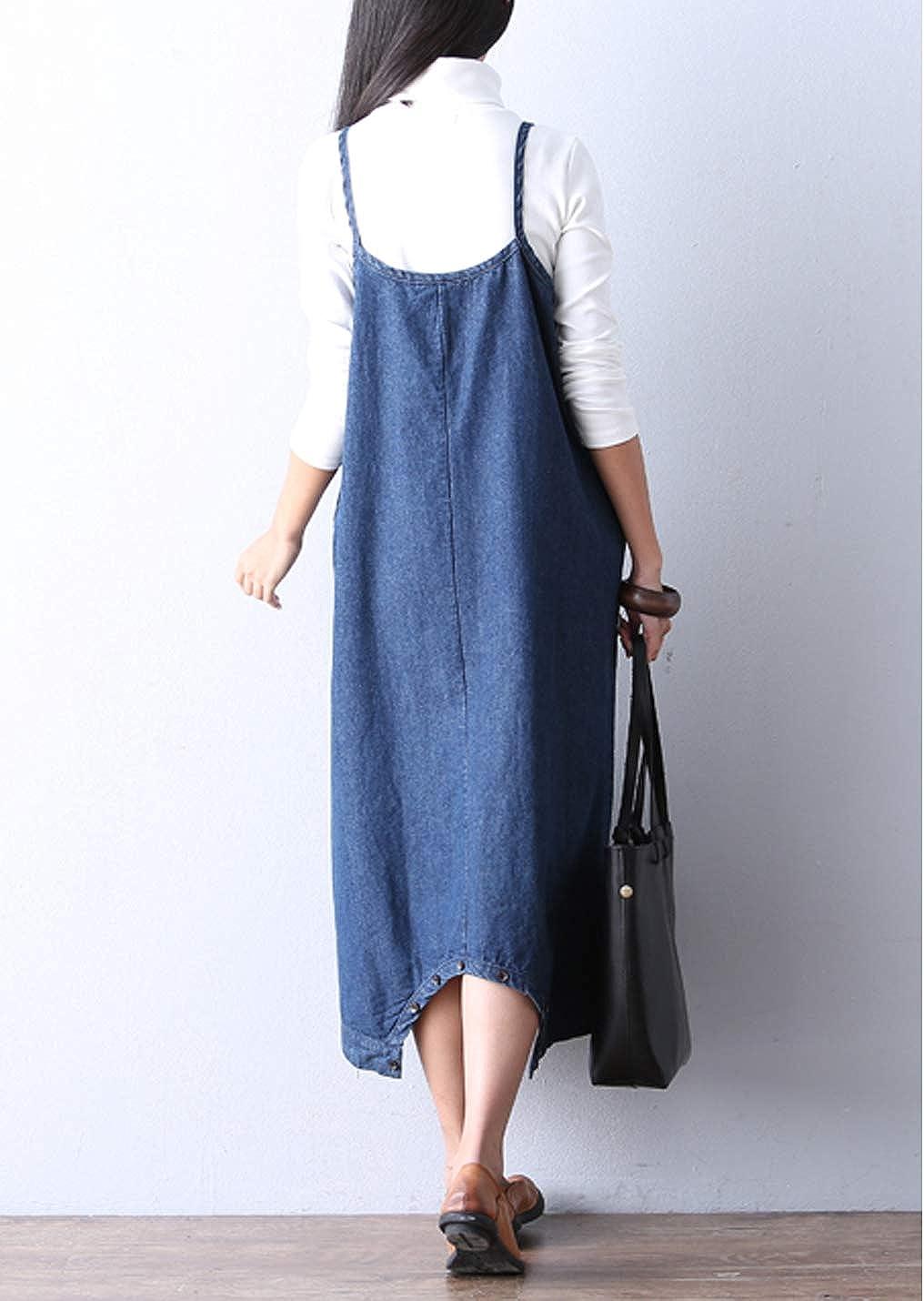 Naliha Women Denim Jumpsuits Baggy Summer Jeans Spaghetti Strap Rompers Maxi Dress