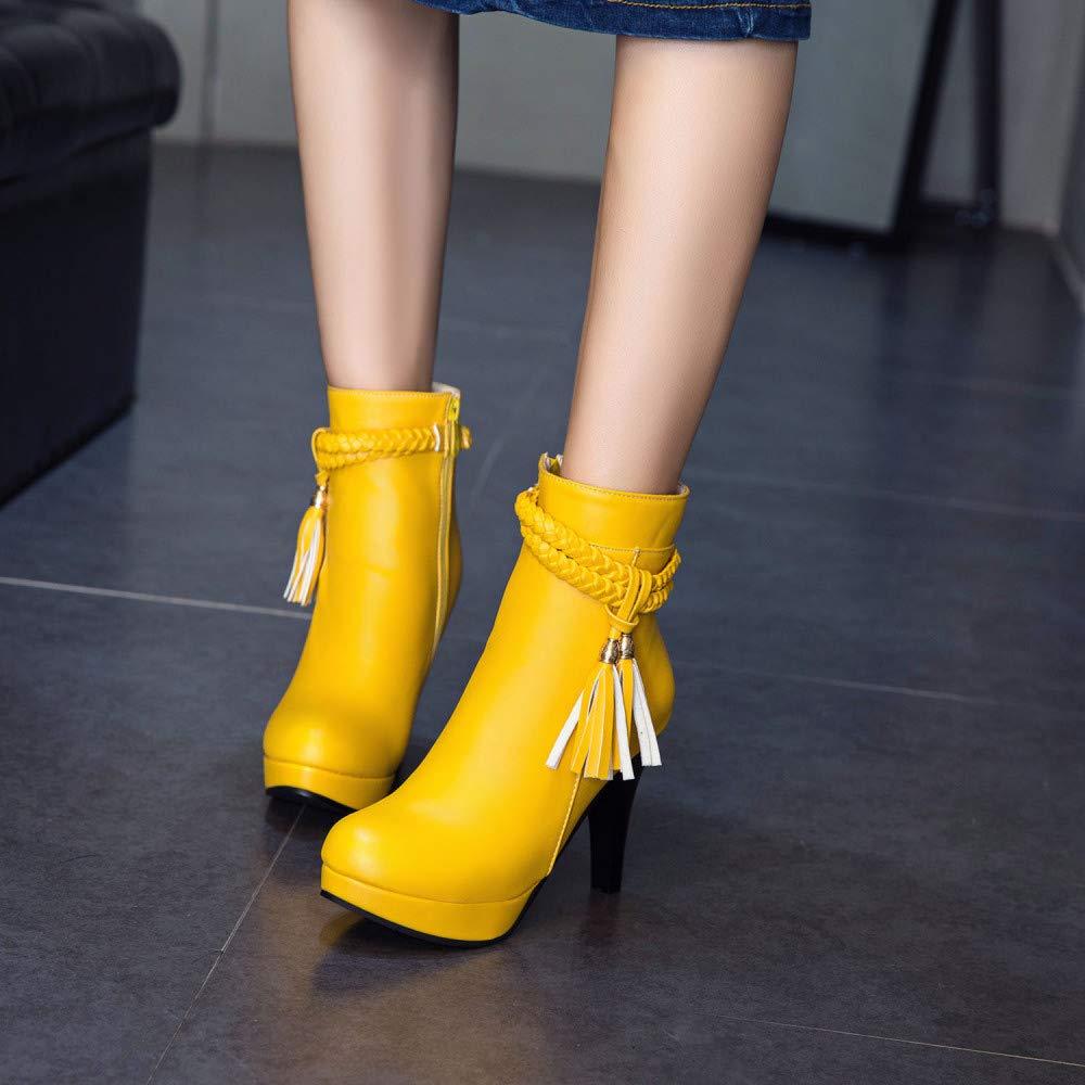 Stiefel Für Frauen, Frauen, Frauen, Herbst Und Winter Große Gelbe Stiletto High Heels Und Nackte Stiefel, Mode Warme Fringe Stiefel Für Frauen 4e9ded
