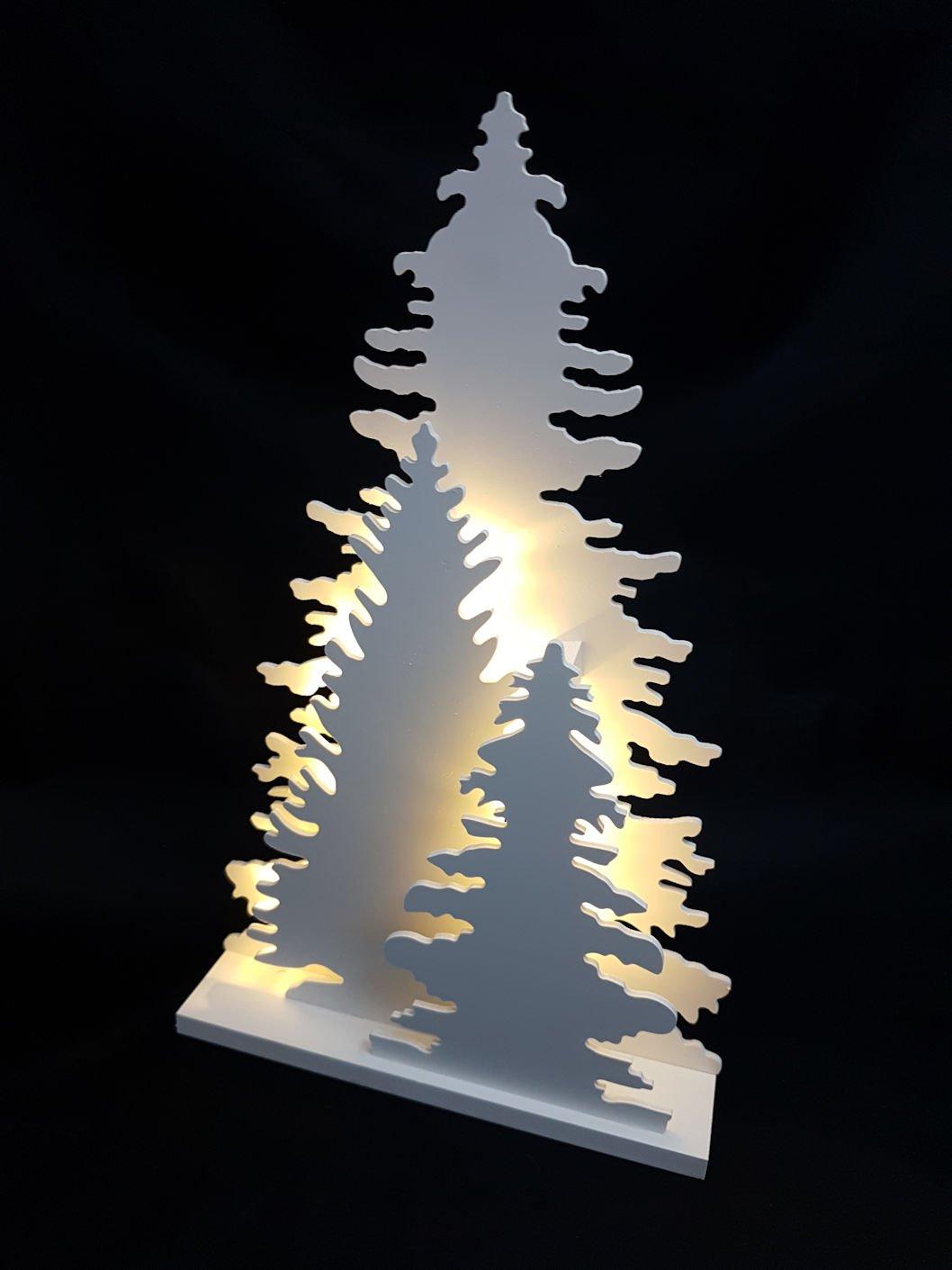 Holz Fensterdeko Tannenbaum - Deko Leuchte mit 15 LED - Weihnachtsdeko Tischdeko Spetebo