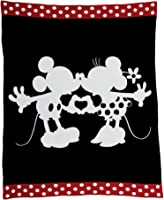 Ethan Allen | Disney Mickey and Minnie Mouse Perfect Pair Knit Throw, Mickey's Ears (Black)