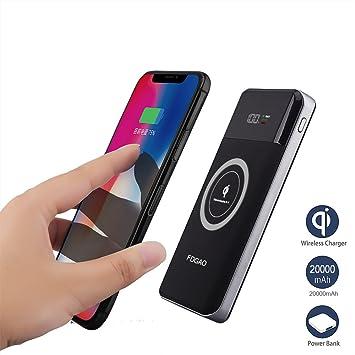 FDGAO Power Bank Wireless 20000mAh Batería Externa con Pantalla Digital Qi Cargador Móvil Portátil para iPhone X/XS/XS MAX, iPhone 8/8 Plus,Samsung ...