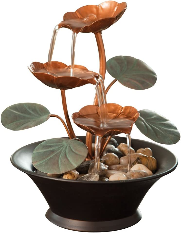 Bits and Pieces - Indoor Water Lily Water Fountain-Small Size Makes This A Perfect Tabletop Decoration - Compact and Lightweight