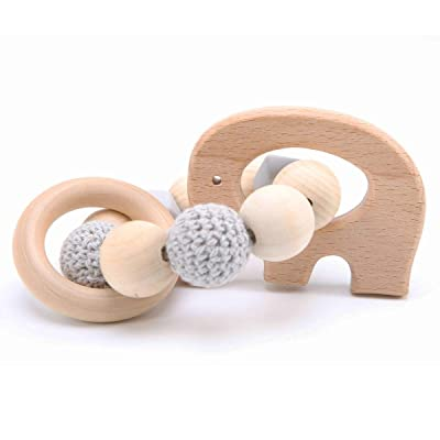 Biter teether Baby Wooden Rattle Teether Toy Elephant Pendant Teething Bracelets Safe and Natural Nursing Bracelet BPA Free Montessori Toys Neutral Newborn Shower Gift: Toys & Games