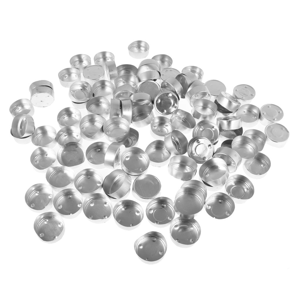 Fityle 200 Pack Round Aluminium Tea Light Cups Empty Case Candle Wax Containers Candle Mold Model Candle Wick DIY Jelly Gel Wax Candles Tealights