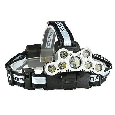 BEAUTOP 120000lm LED Lampe frontale rechargeable Phare de voyage lampe frontale pour camping Course à Pied randonnée 7LED gris