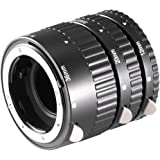 Neewer 12mm, 20mm, 36mm Nero Auto Focus Kit di Tubi d'Estensione Macro per Fotocamere Nikon SLR e Nikkor AF, AF-S, D, G e Obiettivi VR serie (Metallo)