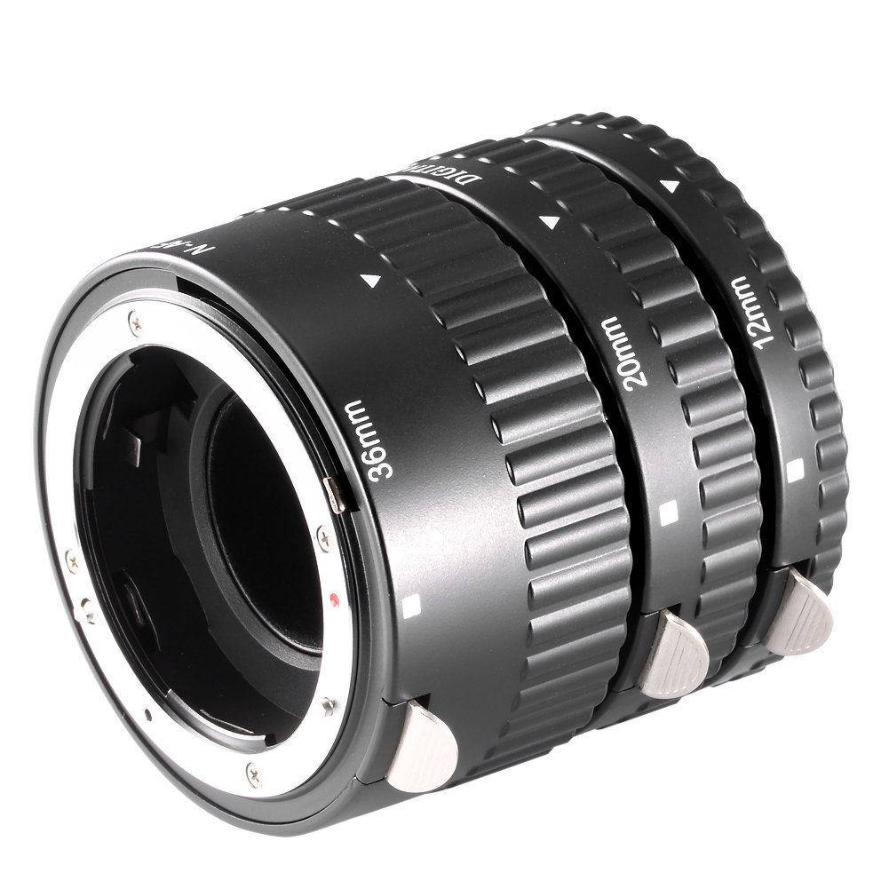 Neewer 12mm, 20mm, 36mm Black Auto Focus Macro Extension Tube Set for Nikon SLR cameras and Nikkor AF, AF-S, D, G and VR lens series (Metal) by Neewer