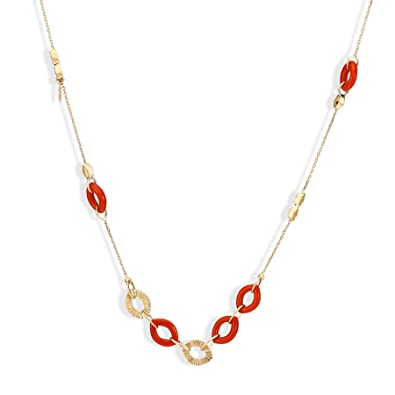 Buy Mia by Tanishq 14KT Yellow Gold and Coral Necklace for Women