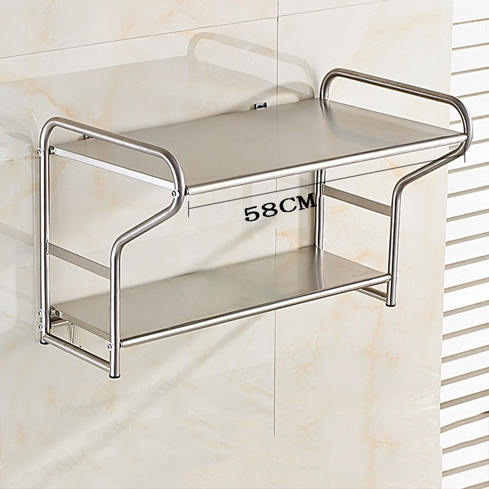 PENGFEI Kitchen Microwave Shelf Oven Rack Wall-Mounted Multifunction Home Castor Rice Cooker Bread Machine Bracket 2 Layer 2 Size (Color : 53x3637CM, Size : Normal)