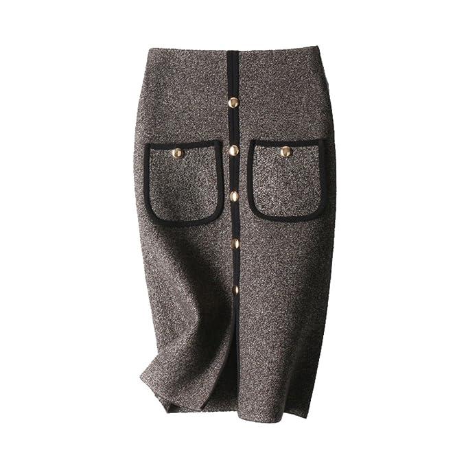 94819fd91 ZhiYuanAN Falda De Punto Elegante Para Mujer Con Dos Bolsillos Moda ...