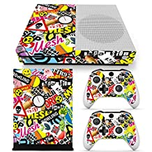 Xbox One S Console Skin Decal Sticker Graffiti Collage + 2 Controller Skins Set (S Only)