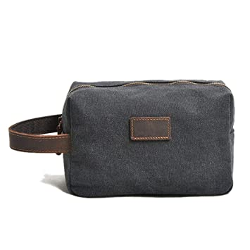 699c4089b4d4 Amazon.com   Leparvi Genuine Leather Toiletry Bag or Shave Bag for Men  (Dark Grey)   Beauty