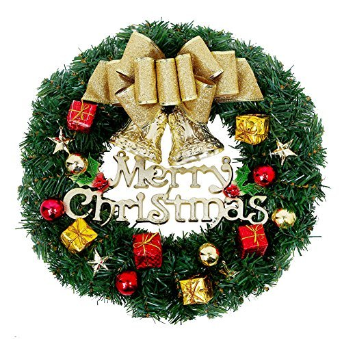 christmas wreath 13 inch merry christmas decorated pine wreath artificial garland with gold bowknot bells gifts for christmas party decor front door