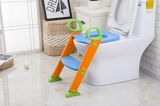Longless Los niños hijos de escalera WC WC con el pedal del bebé WC WC plegable del asiento del inodoro escalera: Amazon.es: Hogar